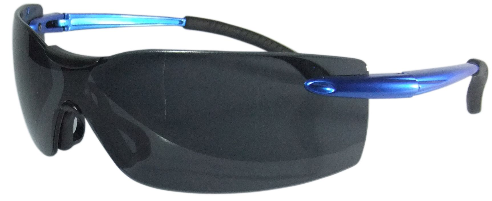 Smoked Safety Glasses - Blue Arms